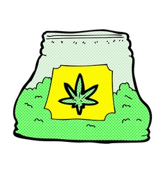 Comic cartoon bag of weed vector