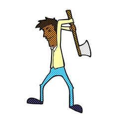 Comic cartoon man swinging axe vector