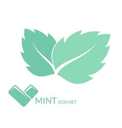 Mint chewing gum isolated leaves on white vector