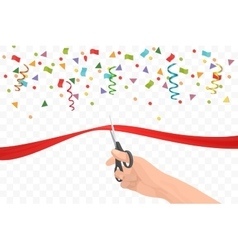 Hand holding scissors and cutting red ribbon on vector
