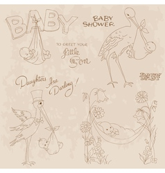 vintage baby shower vector image