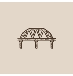 Rail way bridge sketch icon vector