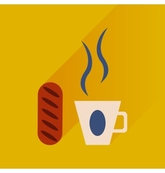 Flat with shadow Icon cup of coffee and bun vector image