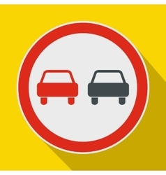 No overtaking road traffic sign icon flat style vector