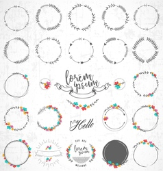 Set of vintage floral badges and labels vector