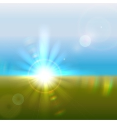 Sun over horizon with lens flares vector