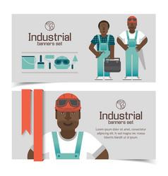 African workmen industrial banners vector