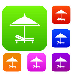 bench and umbrella set collection vector image vector image