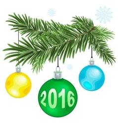 Christmas fur-tree branch with christmas balls vector