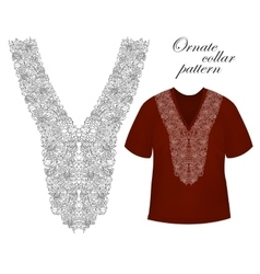 Collar front woman blouse print Line embroidery vector image vector image