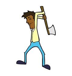 Comic cartoon man swinging axe vector