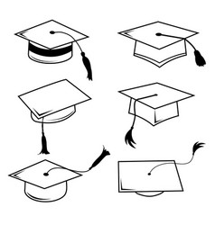 Congratulations hat graduation line icon vector