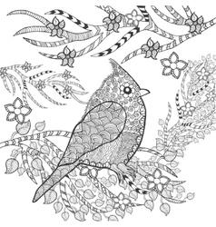 Cute bird in flower garden vector