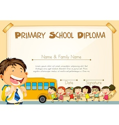Diploma template with children and schoolbus vector