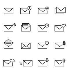 email envelope line icon set message vector image vector image