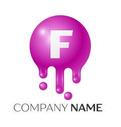 F letter splash logo purple dots and bubbles vector