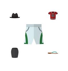 Flat garment set of panama t-shirt stylish vector