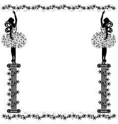 frame with girl and flourishes vector image vector image