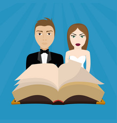 Get married couple bible card vector