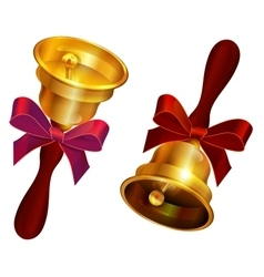 Golden bell with red bow holiday last call at vector