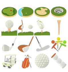 Golf items icons set cartoon style vector