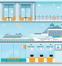 Info of cruise ship terminal at sea port with vector