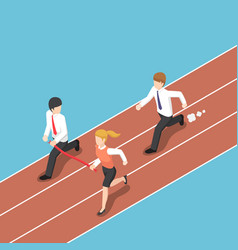 Isometric business rival hold finish line away vector