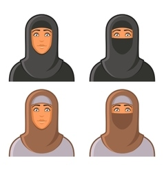 Muslim woman in hijab avatars set vector