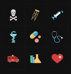 nine flat medicine icons vector image