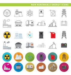 Non renewable energy icons vector