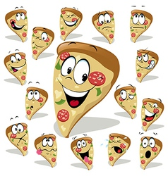 Pizza cartoon with many expressions vector