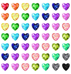 Seamless texture of colored heart cut gems vector