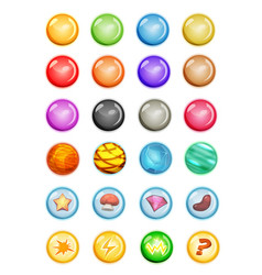 set of bubbles and magic balls for game ui vector image