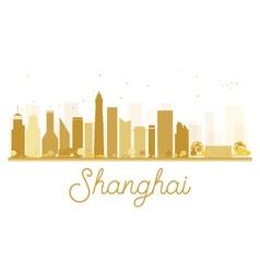 Shanghai city skyline golden silhouette vector