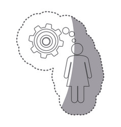 sticker silhouette of woman thought in a pinion vector image
