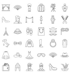 style icons set outline style vector image vector image