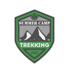 Summer camp trekking vintage isolated badge vector