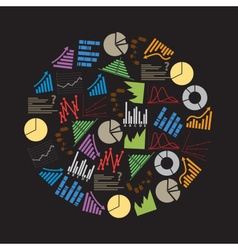 Various color graphs icons in circle eps10 vector