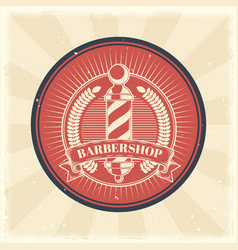vintage badge sticker sign with barber vector image vector image