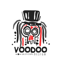 Voodoo african and american magic logo skull with vector