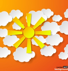 Yellow paper sun and clouds vector image vector image