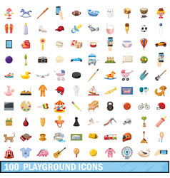 100 playground icons set cartoon style vector