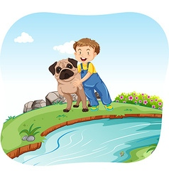 Little boy and dog by the river vector