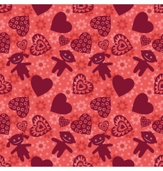 Seamless background Children and hearts vector image