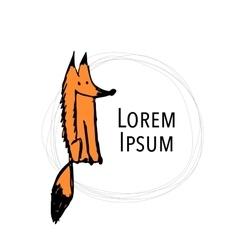 Cute fox sketch for your design vector