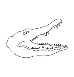 Crocodile icon in outline style isolated on white vector