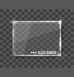 Clear glass banner over transparent vector