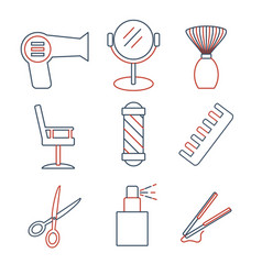 Linear barbershop icons set universal hairstyle vector