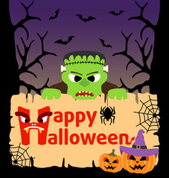 Halloween background card with frankenstein vector