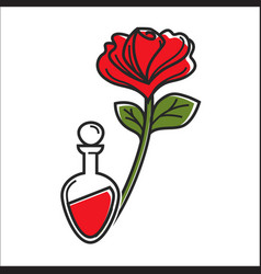 Flask with red liquid and rose vector